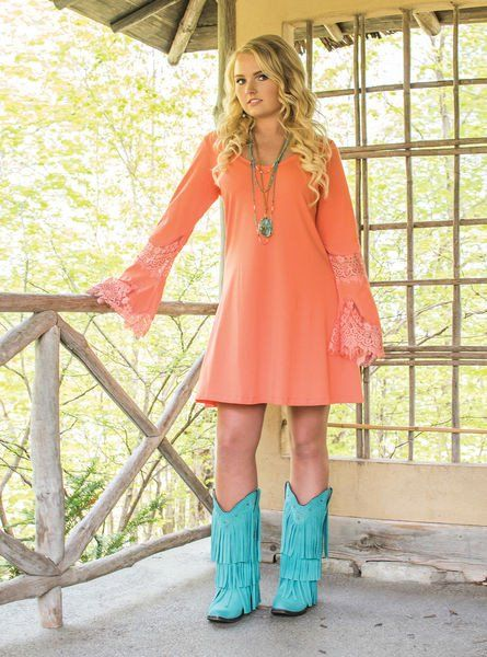 Cowgirl Tuff Women's Coral Jersey Sheath Dress With Lace Sleeve 100079