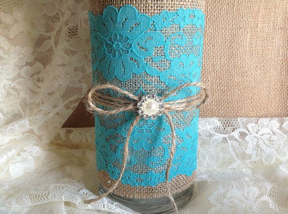 3 Day Rustic Deep Turquoise Blue Lace And Natural Burlap Covered Gl Vase Wedding
