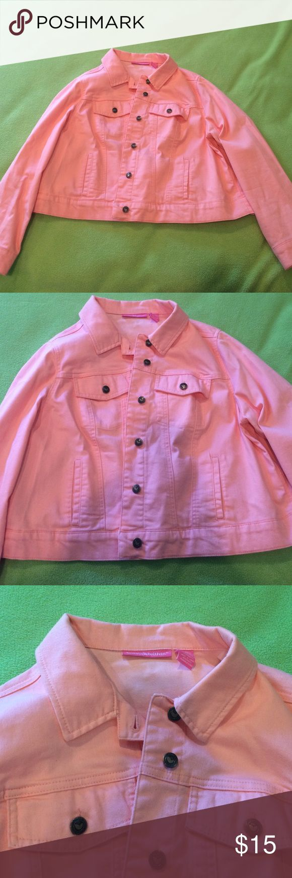 Peach jean jacket 16w- worn once- perfect condition woman within Jackets & Coats Jean Jackets
