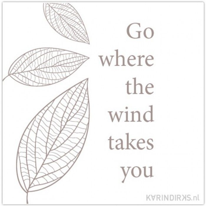 Motiverend citaat op canvasdoek: go where the wind takes you. Citaten, spreuken en mooie quotes op canvas.