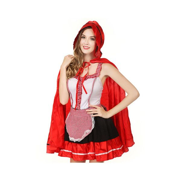 Halloween Little Red Hat Role Play Outfit Women Cosplay Sleeveless... ($28) ❤ liked on Polyvore featuring costumes, as picture, sexy costumes, womens costumes, sexy ladies halloween costumes, red costumes and womens halloween costumes