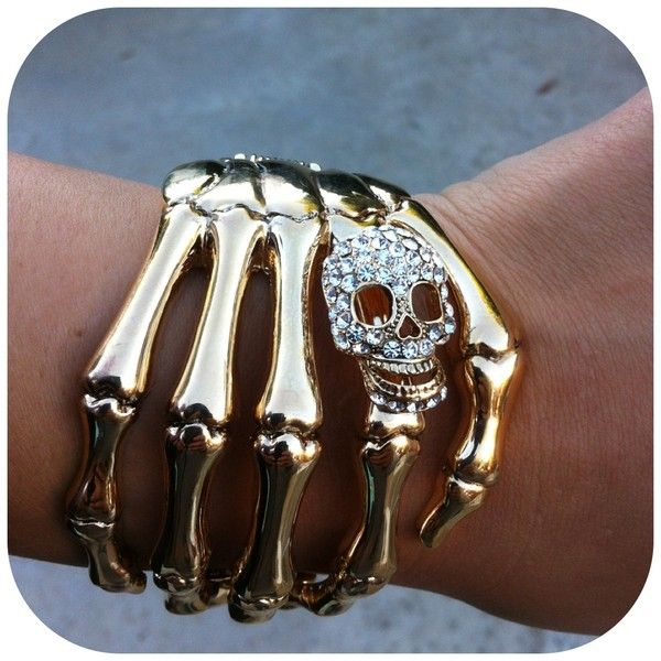 Skull Hand Cuff Gold ($16) ❤ liked on Polyvore featuring jewelry, bracelets, accessories, pulseiras, pics, gold bangles, skull jewelry, yellow gold jewelry, skull bangle and gold jewelry