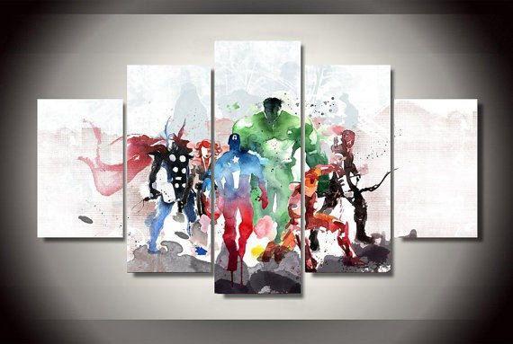 Marvel Avengers abstracte kunst, Canvas Wall Art ingelijste 5 Panel  Afmetingen: Formaat 2:30 cm x 80 cm x 1, 30 x 60 cm x 2, 30 x 40 cm x 2 Formaat 1:20 cm x 55 cm x 1, 20 cm x 45 cm x 2, 20 x 35 cm x 2  Levering is tussen 3-4 weken. Het gaat hierbij om de tijd om het kunstwerk te maken.  ** Functies **  -Hoge kwaliteit handgemaakte Canvas Art -Water Proof -Met UV beschermende Coating  ** Verzending **  -Gratis verzending wereldwijd -Pakket is strak zeepbel verpakt -Canvartco is…