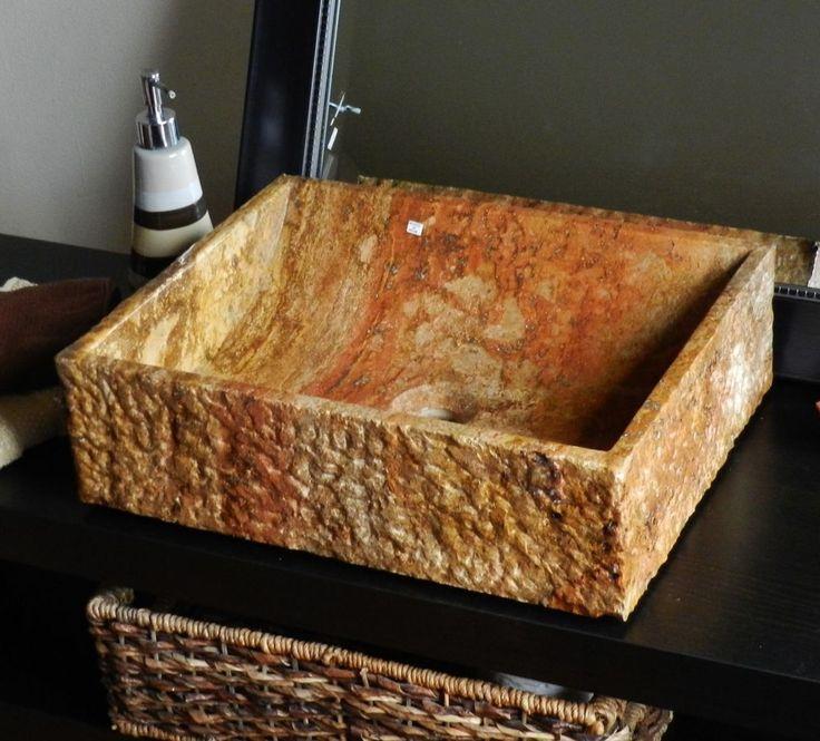 natural stone vessel sink red travertine marble rustic chiseled bathroom vanity - Stone Vessel Sinks