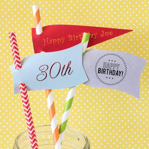 Personalized Birthday Straw Tags with Decorative Straws