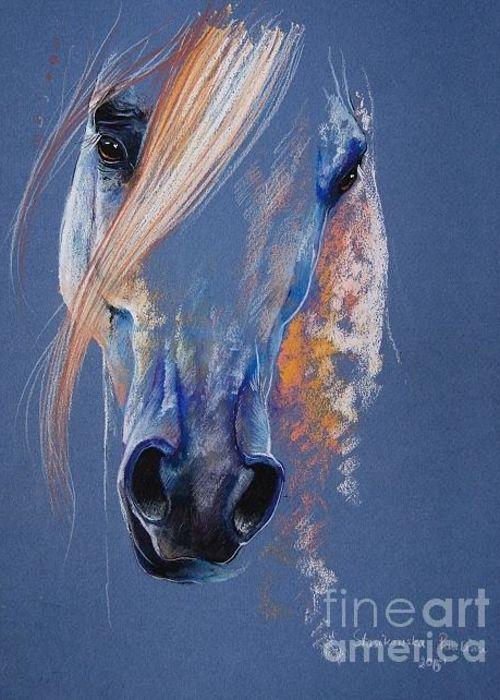 Magic white arabian horse Greeting Card by Paulina Stasikowska