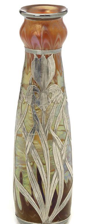 A good silver-overlaid Loetz iridescent glass vase circa 1900