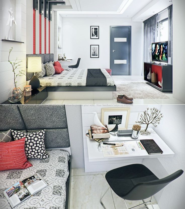 Bedroom:Colorful Bedroom Design Decorating With Slim Bed With Headboard Bed And Cushions With Table Lamp On Black Vanity Also Rugs And Shoes Also Simple Tv Cabinet Also Float Desk And Black Chair Some Ideas of Modern Bedroom Design to Inspire You