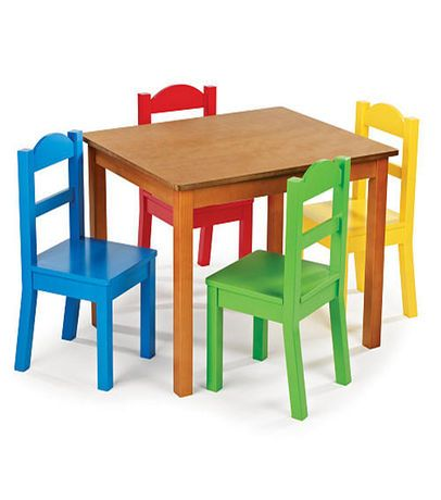 Tot Tutors Dark Pine Table and 4 Primary Colored Chair Set