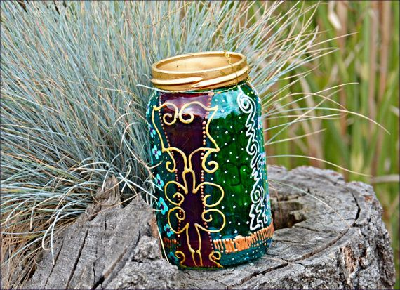 PAINTED MASON JAR, Hand Painted Jam Jar, Small Candle Lantern. Wedding Table, Party Mood Light, Party Favours, Holiday Gift, Stocking Filler, Glass Painting, Garden Lighting Rich green & turquoise colours, plus inticate lacework outlining in gold & silver. Find it at Ornately Lanterns' Etsy Shop: https://www.etsy.com/uk/shop/OrnatelyLanterns