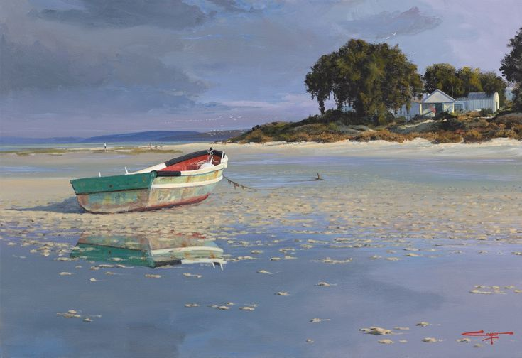 Reflections ~ Churchaven Langebaan Lagoon  Painting by renowned South African artist Andrew Cooper  WhereToStay Langebaan https://goo.gl/pBdPkM