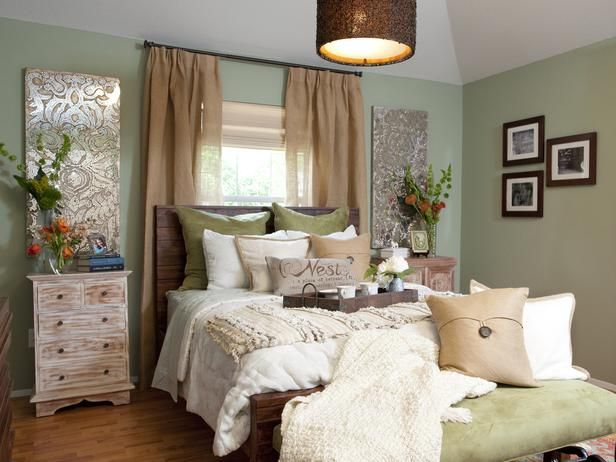 Bedroom With Earthy Green Walls And Pendant Light On Hgtv Clean And Peaceful