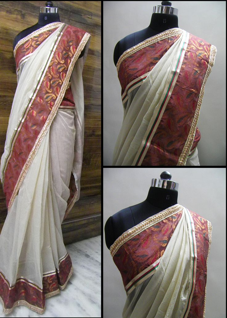 Offwhite chanderi saree with a running border of Rust gold chanderi self design and enhanced with tricolor lace on one end and small booti lace on another.   Blouse - Rust blouse  For booking your saree please Email us with Saree name to sales@aaenadesign.com or call us on +91 9167625956