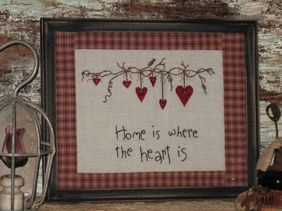 Country Primitive Hanging Hearts Stitchery by MockaMooseMarket, $14.95