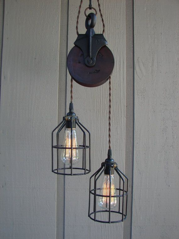 gorgeous vintage farm pulley - rustic industrial style lighting