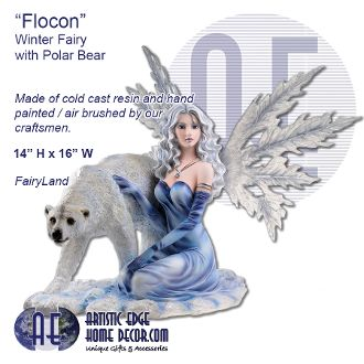 """Flocon"" Winter Fairy with polar bear - Fairyland"