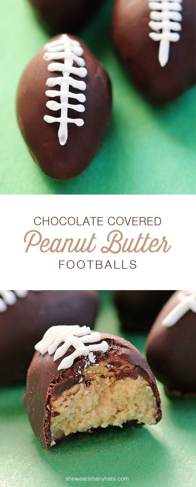 These Chocolate Peanut Butter Footballs are such a fun sweet treat to make for game day, and they are so much easier than they look.   shewearsmanyhats.com
