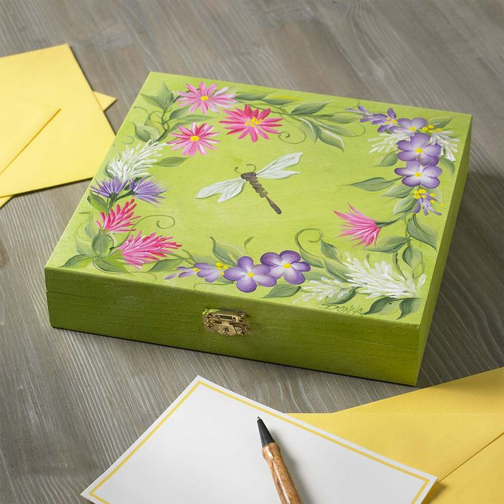 Wildflower Cigar Box. Project by Donna Dewberry, features instructions to paint this beautiful spring box.