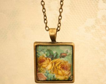 Turquoise Bead Chain Romantic Floral Square Necklace Pendant with Bronze Bow