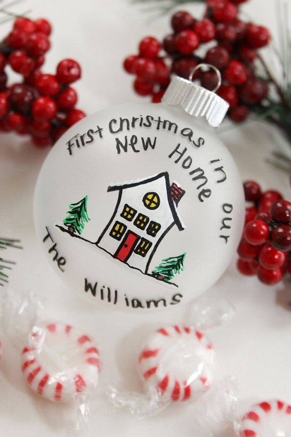First Christmas in Our New Home - Frosted Glass Christmas Ornament - $10 on Etsy. Personalized Free
