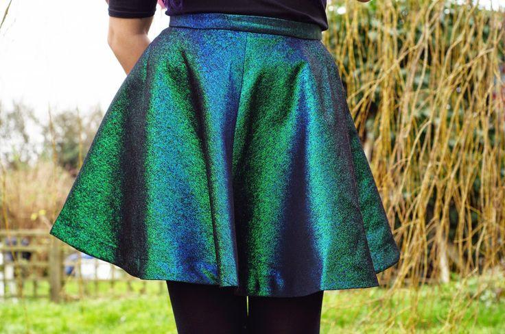 Grunge style with metallic skirt and bardot top.