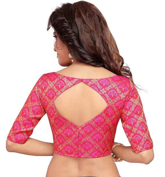 Banarasi Brocade Silk Blouse Choli Readymade Saree Blouse Blouse Crop Top