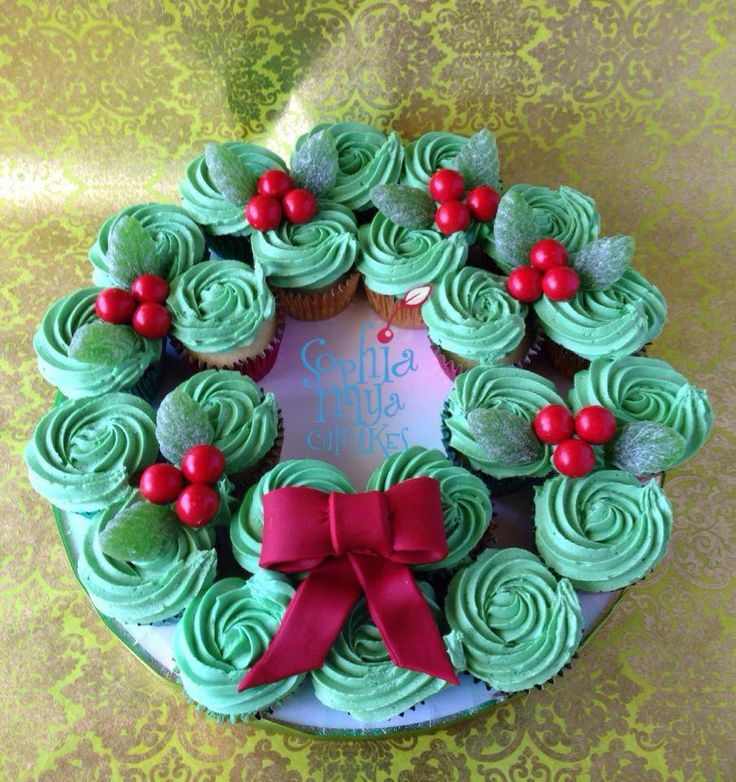Christmas Cupcake Wreath by Sophia Mya Cupcakes, Melbourne, Australia. You'll find this Cake Appreciation Society Member in our Directory at www.cakeappreciationsociety.com