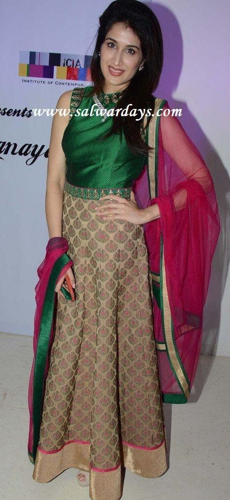 Indian Salwars and Indian Fashion: green and beige long salwar kameez