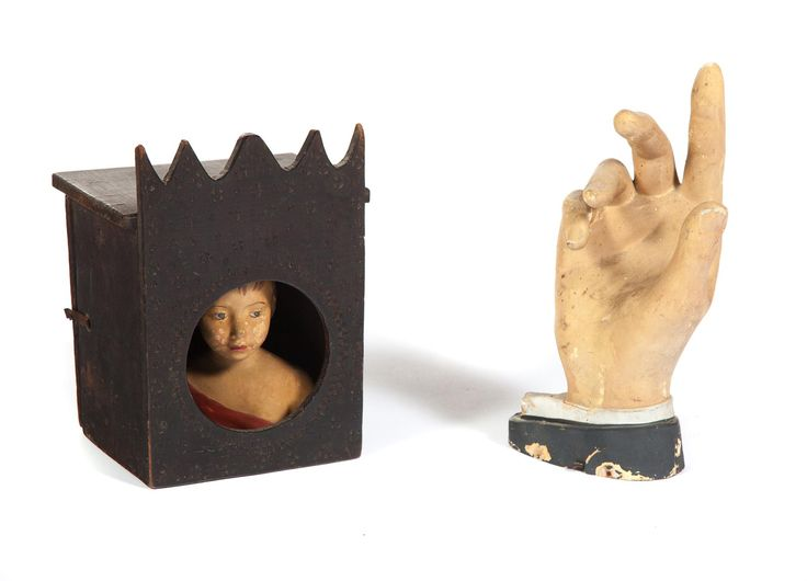 "Garths | Full Details for Lot 32 TWO FOLKSY PIECES.  American, ca. 1900. Papier mache hand, 12""h., and a display case with scalloped cornice, wood punch decoration, and a small redware bust of a youth, 10""h. 7.75""w. 6.5""d.  Estimate $ 175-350"