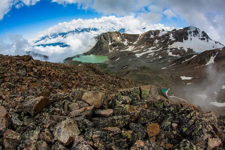 Mount Elbrus is a dormant volcano located in the western Caucasus mountain range, in Kabardino-Balkaria and Karachay–Cherkessia of Russia, near the border with Georgia. Mt. Elbrus's peak is the highest in the Caucasus Mountains and in Europe.