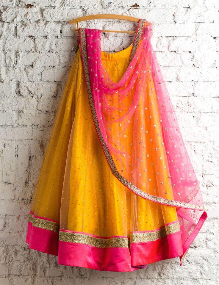 Yellow with pink border Lengha