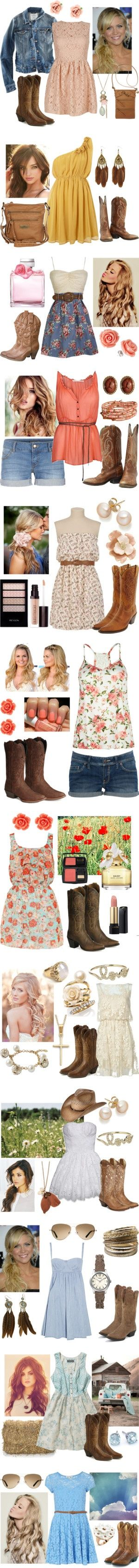 Clothes Outift for • teens • movies • girls • women •. summer • fall • spring • winter • outfit ideas • dates • parties Polyvore :) Catalina Christiano. Love all of these but one thing...the boots! Just because ur country doesnt mean u have to go with boots. Yuck
