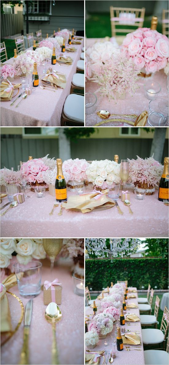 Glamorous Surprise Backyard Bridal Shower with gold and pink decorations and a Nacho Bar.