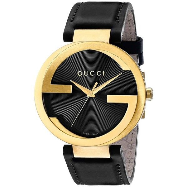 Gucci Interlocking - YA133212 (Gold/Black) Watches ($1,290) ❤ liked on Polyvore featuring jewelry, watches, accessories, gucci, nakit, gold wristwatch, gucci wrist watch, gucci jewelry and analog watches