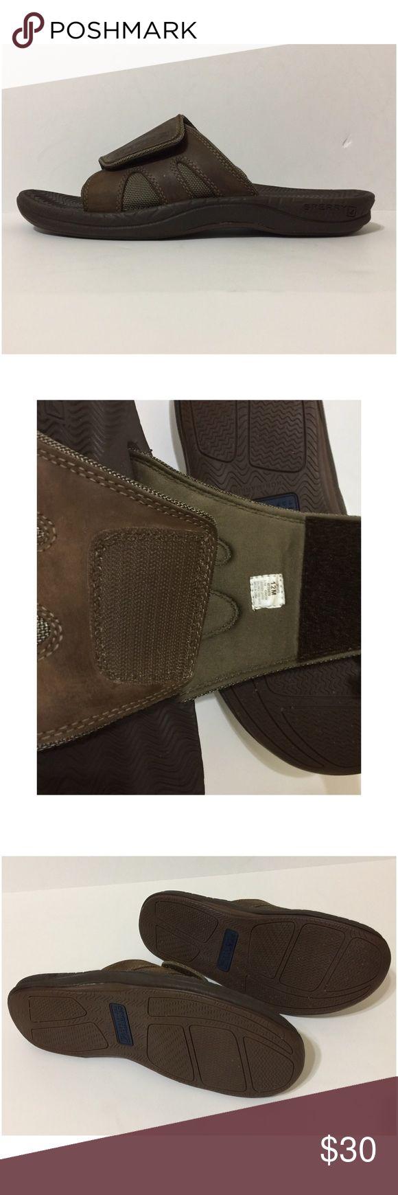 Sperry Top-Sider Men's Slip On Sandals Size 12 Brown • Velcro Top To Adjust For Width • Cushioned Insoles • Size 12 • Slide On Sperry Top-Sider Shoes Sandals & Flip-Flops