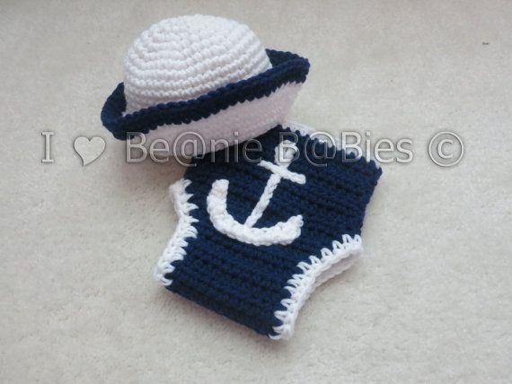 Crochet photo prop Sailor Hat and diaper cover anchor applique