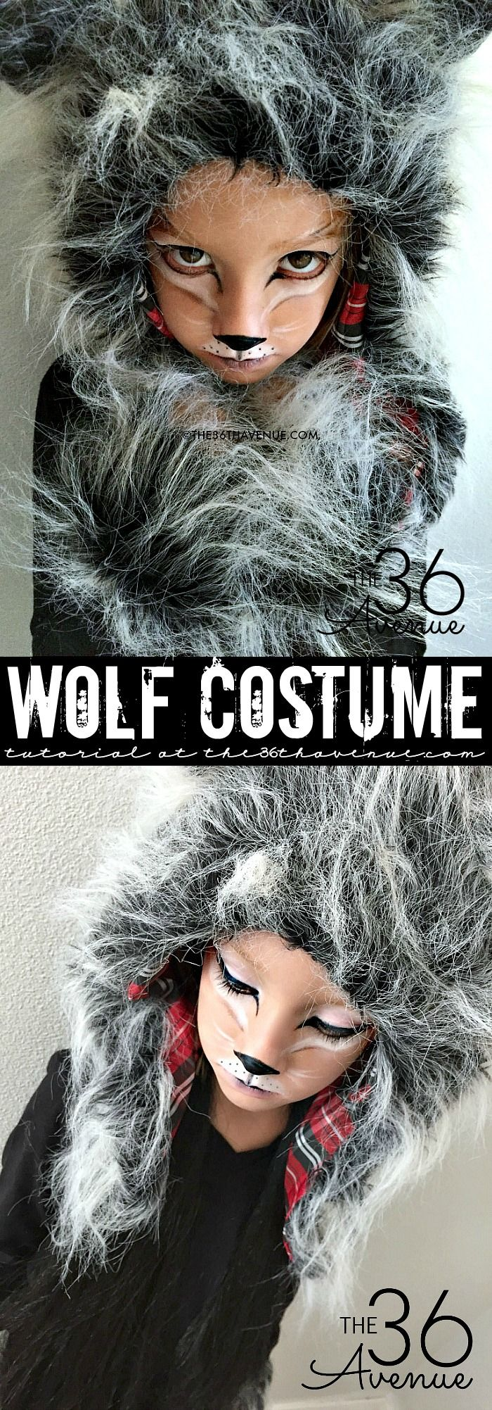 Halloween Costumes - This Wolf Costume is supers cute, comfortable and perfect for kids and adults. You can do this DIY Wolf Makeup with items that you may already have at home!: