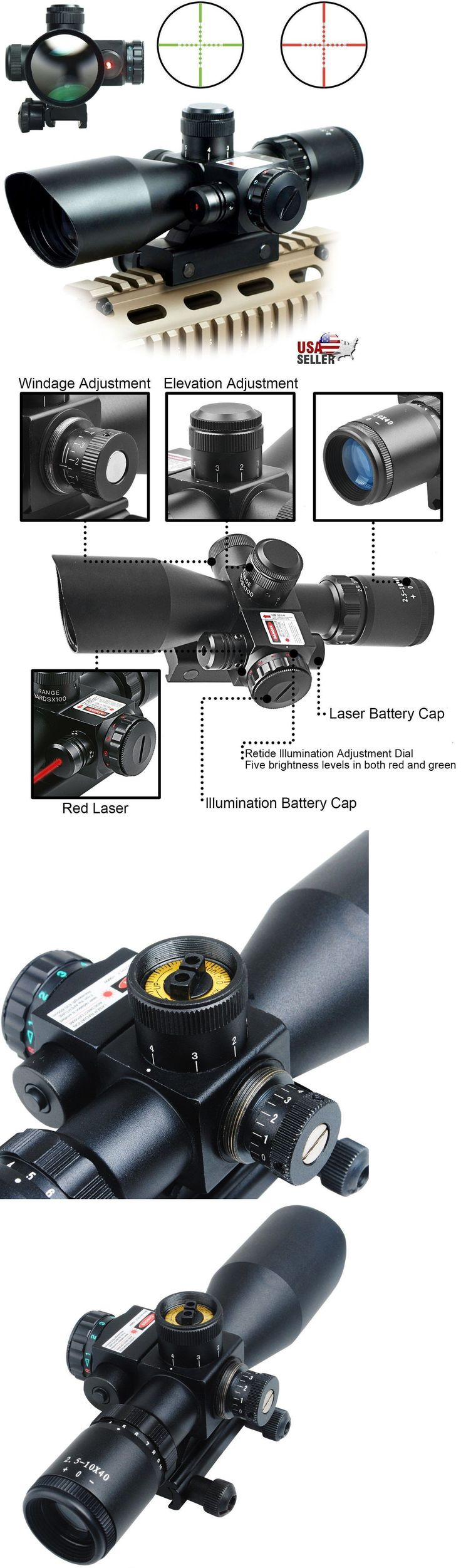 Rifle Scopes 31714: 2.5-10X40 Tactical Rifle Scope Red Green Mil-Dot Illuminated Red Laser Mount -> BUY IT NOW ONLY: $39.5 on eBay!