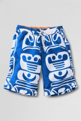 Boys' Large Pattern Surf Camp Board Shorts from Lands' End