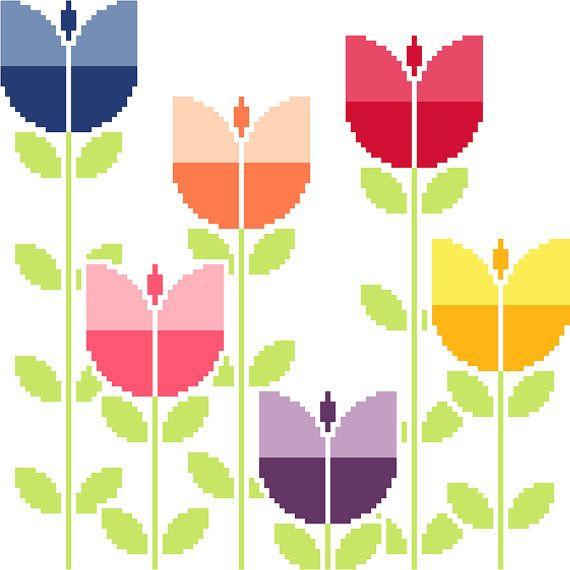 Field of retro tulips. Modern cross stitch pattern. Contemporary cross stitch…                                                                                                                                                                                 More