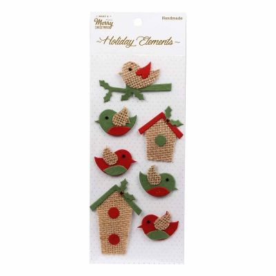 Christmas Burlap bird & house stickers 7pcs