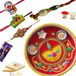 Send #Rakhi to USA for #Rakshabandhan Shagun Diya Thali and Family #Rakhi from http://www.rakhistoreonline.com/buy-rakhi-with-thali/rakshabandhan-shagun-diya-thali-with-family-rakhi.html