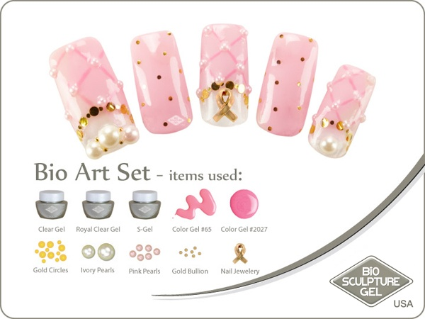 Breast cancer pearls art set