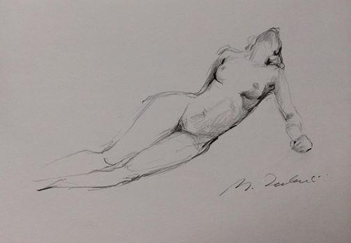 Drawing of naked, lying woman by Michał Zaborowski,