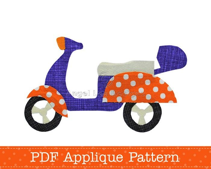 Scooter Applique Template Motorcycle Motorbike DIY PDF Pattern