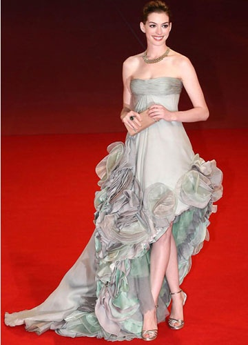 Anne Hathaway wore a silver grey dress which skirt was decorated by big floral patterns.