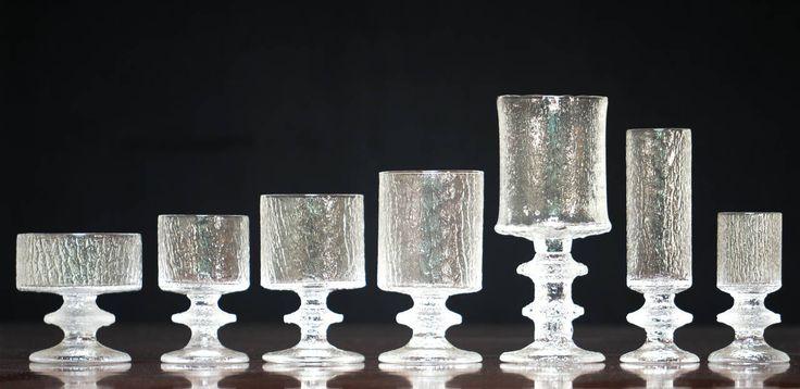 Timo Sarpaneva, Set of Senator Glasses for Iittala and one of them is Festivo Glass, with two knots.