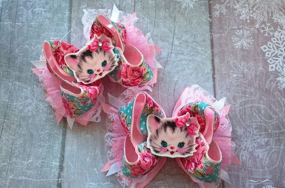 Bows for girls Cute kitty Beautiful bows Hair bows for by OliBows