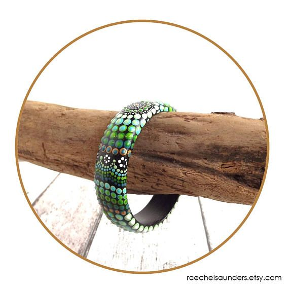Green Forest Dot Painted Wood Bracelet Authentic Australian