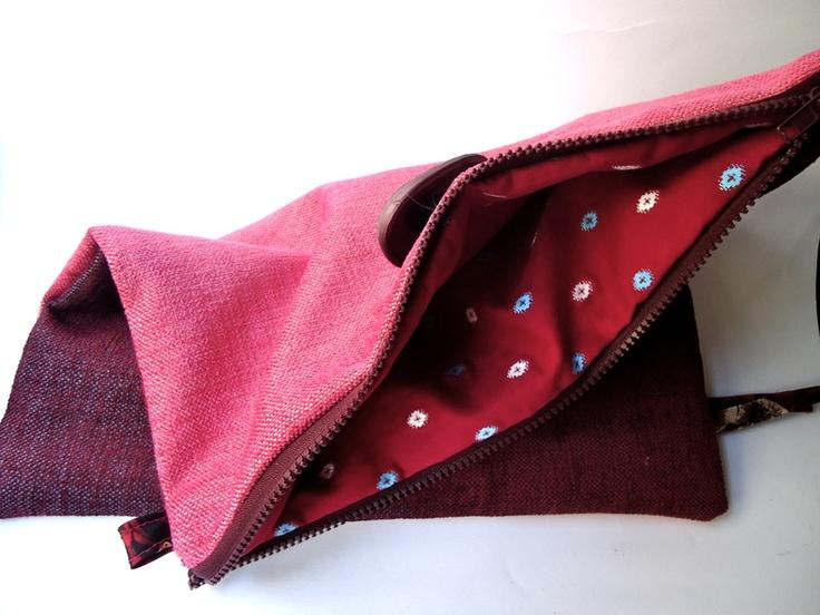 Pochette in velluto rosa scuro e bordeaux -  Velvet Pochette